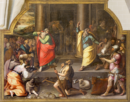 ZARAGOZA, SPAIN - MARCH 3, 2018: The biblical scene of miracel heain of St. Paul and st. Barnabas in Lystra in the church Iglesia de San Pablo by Antonio Glaceran and Jeronimo de Mora (1596). Editorial