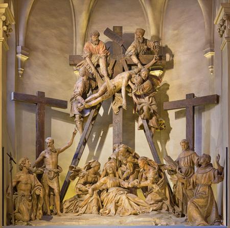 REGGIO EMILIA, ITALY - APRIL 14, 2018: The sculptural group The Deposition of the cross in church chiesa di San Francesco by Antonio Begarelli (1499-1565).