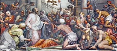 PARMA, ITALY - APRIL 16, 2018: The fresco Jesus at the healing  in Duomo by Lattanzio Gambara (1567 - 1573). Editorial