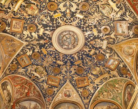 PARMA, ITALY - APRIL 17, 2018: The ceilig fresco (grotesque) of Camera di San Paolo by Alessandro Araldi (1514).