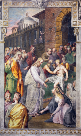 REGGIO EMILIA, ITALY - APRIL 12, 2018: The fresco Christ and the Woman with the Issue of Blood in church Basilica di San Prospero by Bernardino Campi (1520 - 1591).