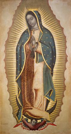Bologna, Italia - 18 aprile 2018: La vernice della Vergine Maria di Guadalupe nella chiesa Chiesa di San Benedetto Francisco Antonio Vallejo (1772). Editoriali