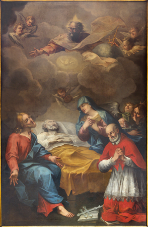 PARMA, ITALY - APRIL 15, 2018: The painting of Death of St. Joseph with beato Paolo Buralli  in church  Chiesa di Santa Cristina by Francesco Nassi (1722).