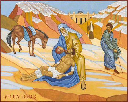 BOLOGNA, ITALY - APRIL 18, 2018: The icon of Parable of the Good Samaritan in church Chiesa di San Pietro by Giovanni Paolo Bardini. Editorial