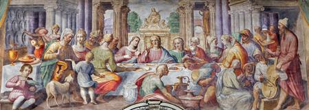 PARMA, ITALY - APRIL 16, 2018: The fresco of The wedding at Cana in church Chiesa di Santa Croce by Giovanni Maria Conti della Camera (1614 - 1670).