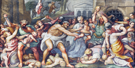 PARMA, ITALY - APRIL 16, 2018: The fresco of Macacre of Inocents in Duomo by Lattanzio Gambara (1567 - 1573). Editorial