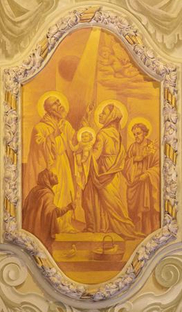 MODENA, ITALY - APRIL 14, 2018: The freso of The Presentatin in the Temple in church Chiesa di San Bartolomeo from 17. cent.