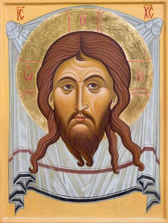 BOLOGNA, ITALY - APRIL 18, 2018: The icon of Face of Christ in church Chiesa di San Pietro by sr. Marina Chirico.