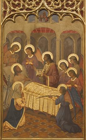 ZARAGOZA, SPAIN - MARCH 1, 2018: The neogothic painting of Death of St. Joseph in church Iglesia del Sagrado Corazon de Jesus by Nauarro (1945).
