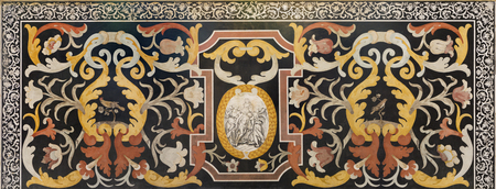 MODENA, ITALY - APRIL 14, 2018: The stone floral mosaic (Pietra Dura) with Virgin mary in church Abbazia di San Pietro by Marco Mazelli (1670-1680) Editoriali