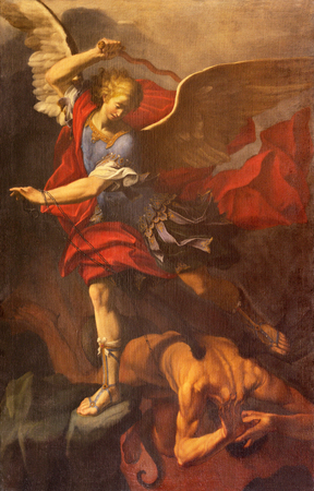 REGGIO EMILIA, ITALY - APRIL 12, 2018: The painting of Michael Archangel in Duomo church by Orazio Talami (1624 – 1708). Editorial