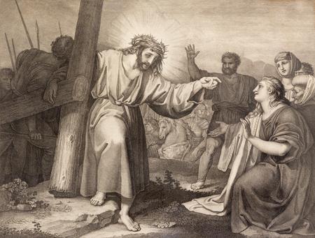 REGGIO EMILIA, ITALY - APRIL 12, 2018: The lithography Jesus meets the women of Jerusalem (cross way) in church Chiesa di Santo Stefano by Benedetto Eredi (1750 - 1812).