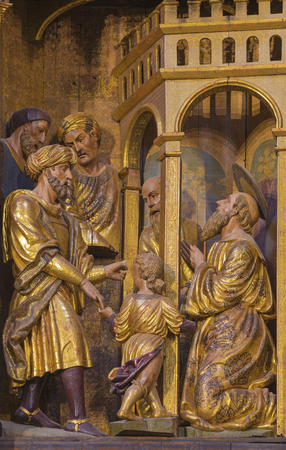 ZARAGOZA, SPAIN - MARCH 3, 2018: The blind St. Paul healed by Annanias - carved main altar in the church Iglesia de San Pablo by Damian Forment (151 - 1535).