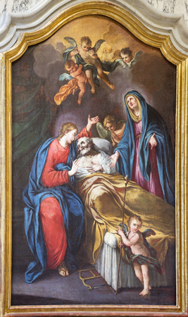 TURIN, ITALY - MARCH 14, 2017: The painting Death of St. Jospeh in church Chiesa di San Francesco by unknown artist of 18. cent. 報道画像