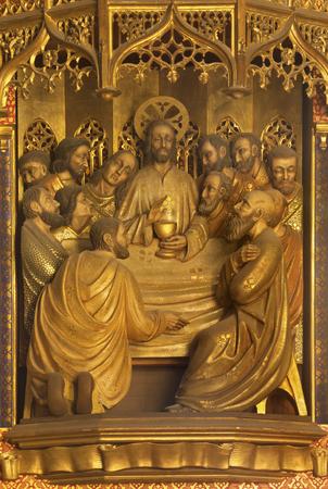ZARAGOZA, SPAIN - MARCH 3, 2018: The carved relief of Last supper in former church Iglesia del Sagrado Corazon de Jesus from 19. cent.