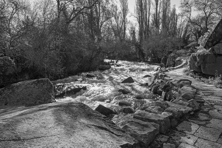 Segovia - The stone path on the riverside of Rio Eresma