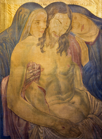 LONDON, GREAT BRITAIN - SEPTEMBER 17, 2017:  The painting of Pieta in St James's Church, Piccadilly by F. Ernest Jackson 1923. Editoriali