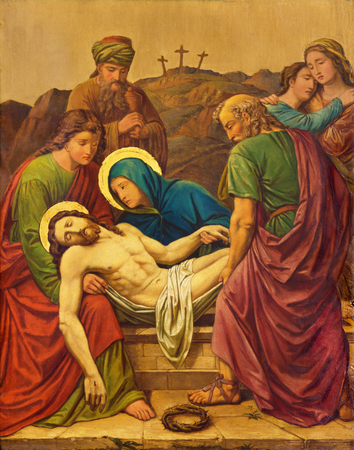 LONDON, GREAT BRITAIN - SEPTEMBER 17, 2017: The burial of Jesus as the Station of the Cross in church of St. James Spanish Place by M. Jacob (1873). Editorial