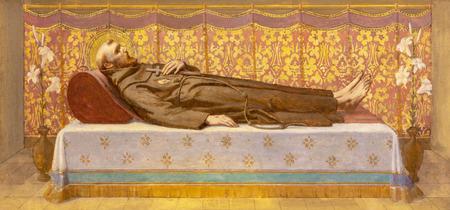 PRAGUE, CZECH REPUBLIC - OCTOBER 12, 2018: The painting St. Francis of Assisi in the tomb in church Bazilika svatého Petra a Pavla na VyÅ¡ehrade by S. G. Rudl (1895). Sajtókép