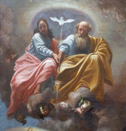 Praga, Republika Czeska - 12 października 2018: Barokowy obraz Świętej Trójcy w kościele Svatého Tomá¡e autorstwa Karel Åkréta (1610-1674). Publikacyjne