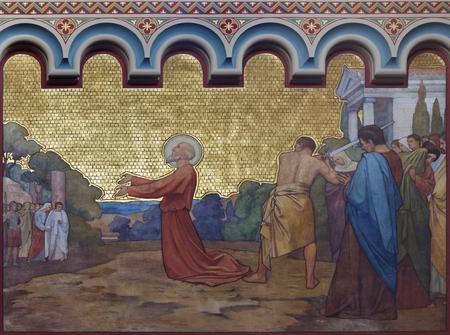 PRAGUE, CZECH REPUBLIC - OCTOBER 17, 2018: The decapitation of st. Paul freso in the church kostel Svatého Cyrila Metodeje by  S. G. Rudl (1896). Editoriali