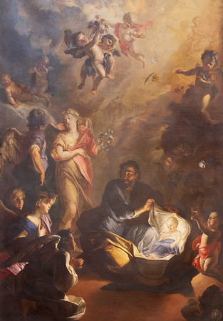 PRAGUE, CZECH REPUBLIC - OCTOBER 18, 2018: The baroque painting of St. Joseph and little Jesus in church kostel Svaté Voršily by Jan Bruno Rossi (1737-1739).