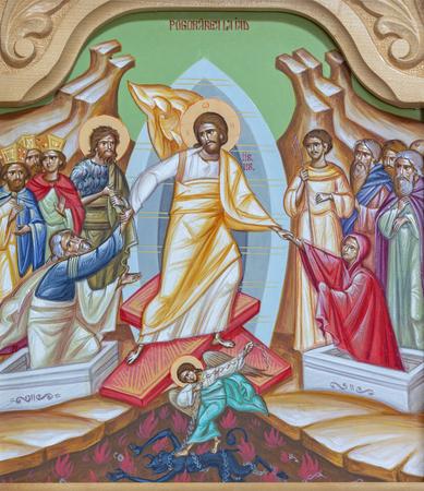 REGGIO EMILIA, ITALY - APRIL 12, 2018: The icon of Harrrownig of Hell - Descensus Christi and inferno (latin) on the iconostas in church Chiesa di San Giorgio in Reggio Emilia from 20 cent.