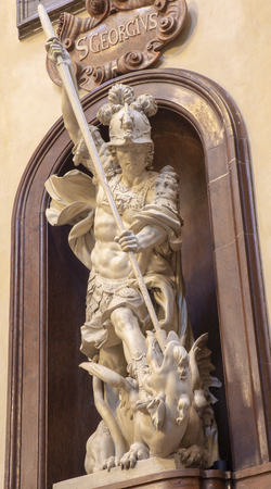 PRAGUE, CZECH REPUBLIC - OCTOBER 12, 2018: The baroque statue of St. George in St. Francis of Assisi church by Konrád Max Sussner (1690).