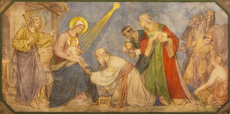 PRAGUE, RÉPUBLIQUE TCHÈQUE - 17 OCTOBRE 2018 : La fresque de l'Adoration des Mages dans l'église kostel Svatého Cyrila Metodeje par Petr Maixner (1868).