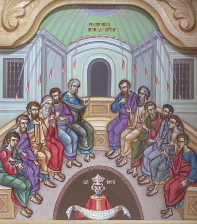 REGGIO EMILIA, ITALY - APRIL 12, 2018: The icon of Pentecost scene on the iconostas in church Chiesa di San Giorgio in Reggio Emilia from 20 cent. Editorial