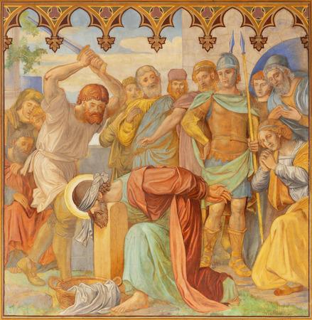 PRAGUE, CZECH REPUBLIC - OCTOBER 15, 2018: The fresco decapitation of St. Paul in church Bazilika svatého Petra a Pavla na Vyšehrade by S. G. Rudl (1895).