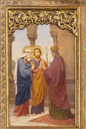 PRAGUE, CZECH REPUBLIC - OCTOBER 12, 2018: The painting of Wedding of Virgin Mary and St. Joseph in church Bazilika svatého Petra a Pavla na Vyšehrade by S. G. Rudl (1895).