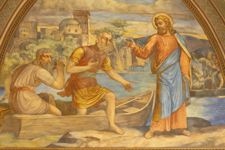 PRAGUE, CZECH REPUBLIC - OCTOBER 15, 2018: The fresco of Miracle fishing Jesus in church Bazilika svatého Petra a Pavla na Vyšehrade by S. G. Rudl (1895). Editorial
