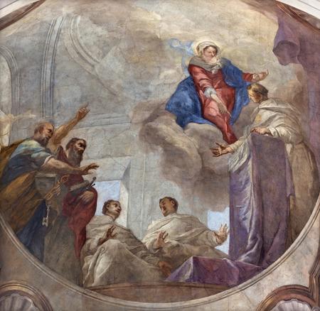 PRAGUE, CZECH REPUBLIC - OCTOBER 12, 2018: The Fresco of symbolic teaching of Saint Thomas of Aquinas in church kostel Svatého Tomáše by Václav Vavřinec Reiner (1689 - 1743).