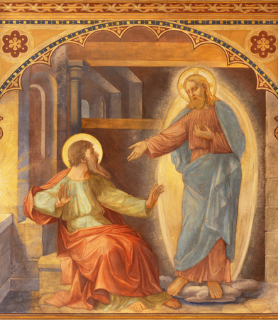 PRAGUE, CZECH REPUBLIC - OCTOBER 13, 2018: The fresco of Apparition of Jesus to Saint Paul in carcer in church kostel Svatého Václava by S. G. Rudl (1900).