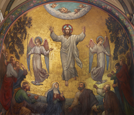 PRAGUE, CZECH REPUBLIC - OCTOBER 13, 2018: The fresco of Ascension of Jesus in side apse of church kostel Svatého Václava by S. G. Rudl (1900).