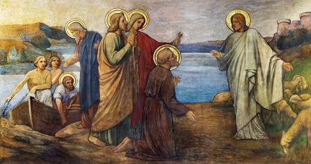 PRAGUE, CZECH REPUBLIC - OCTOBER 13, 2018: The fresco of Miracle fishing Jesus in church kostel Svatého Václava by S. G. Rudl (1900).