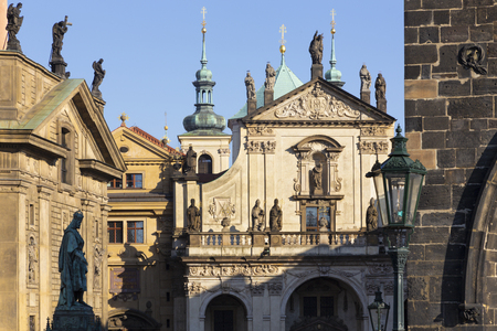 Praghe - The facade of St. Salvator church   and Křižovnické square from the Charles bridge.