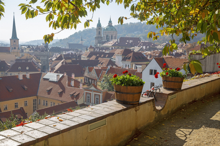 Prague - The outlook from the gardens under the Castle to Mala Strana, St. Nicholas, and St. Thomas church. Stock Photo