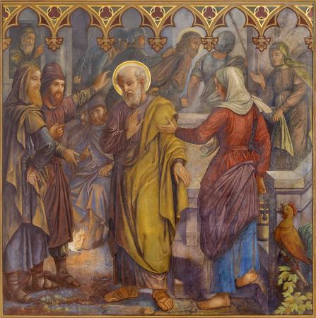 Prag, tschechische Republik - 15. OKTOBER 2018: Das Fresko des Petrus verleugnet Jesus in der Kirche Bazilika svatého Petra a Pavla na VyÅ¡ehrade von SG Rudl (1895).