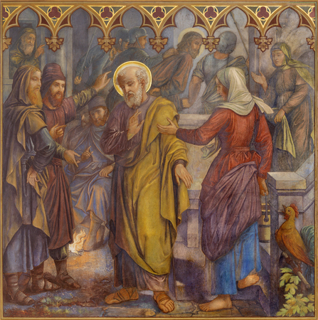 PRAGUE, CZECH REPUBLIC - OCTOBER 15, 2018: The fresco of The Peter Disowns Jesus in church Bazilika svatého Petra a Pavla na VyÅ¡ehrade by S. G. Rudl (1895). Sajtókép