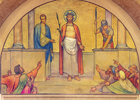 PRAGUE, CZECH REPUBLIC - OCTOBER 13, 2018: The fresco Judgmetn of Jesus before Pilate in church kostel Svatého Václava by S. G. Rudl (1900). Sajtókép