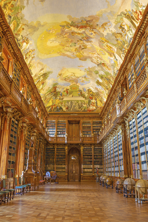 PRAGUE, CZECH REPUBLIC - OCTOBER 17, 2018: The Philosophical hall of library in Strahov monastery.