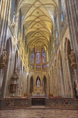 PRAGUE, CZECH REPUBLIC - OCTOBER 14, 2018: The gothic nave and presbytery of St. Vitus cathedral.