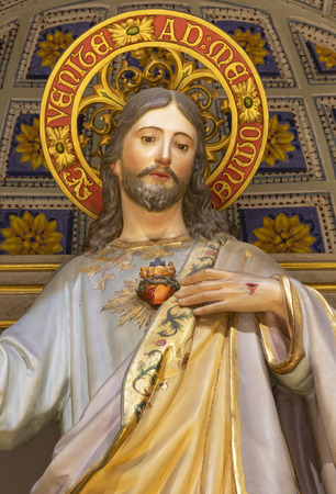 PALMA DE MALLORCA, SPAIN - JANUARY 29, 2019: The polychome carved sculpture of St. Joseph in the church Iglesia de Santa Maria Magdalena from 19. cent. 에디토리얼