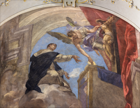 PRAGUE, CZECH REPUBLIC - OCTOBER 12, 2018:  The Fresco of vision of Saint Thomas of Aquinas in church kostel Svatého Tomáše by Václav Vavřinec Reiner (1689 - 1743).