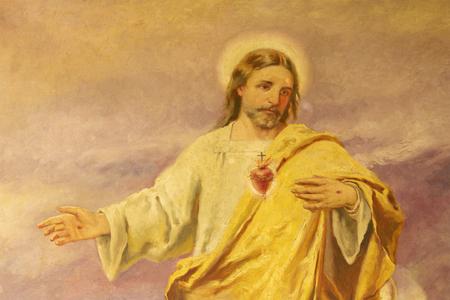 PALMA DE MALLORCA, SPAIN - JANUARY 29, 2019: The painting of Heart of Jesus in the church Iglesia de Santa Teresa de Jesus.