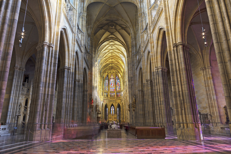 PRAGUE, CZECH REPUBLIC - OCTOBER 14, 2018: The gothic nave of St. Vitus cathedral.