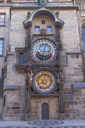Prauge - The Orloj - Tower clock on the Old Town hall and Staroměstské square.