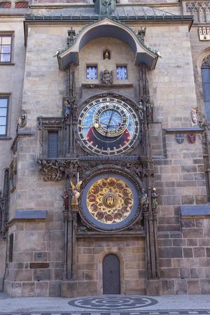 Prauge - The Orloj - Tower clock on the Old Town hall and Staroměstské square. Banco de Imagens
